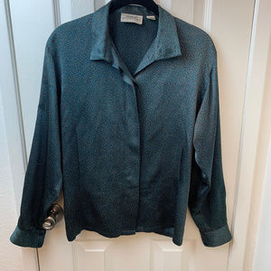 Linda Allard for Ellen Tracy Green Silk Blouse.6/P